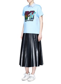 Marc Jacobs x MTV Sequin logo embroidered bonded T-shirt