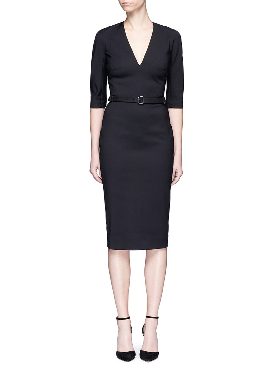 Microbrush bonded woven dress by Victoria Beckham