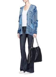 Stella McCartney Denim patch mixed knit cardigan
