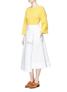 Emilio Pucci Frayed embroidered stripe wrap skirt