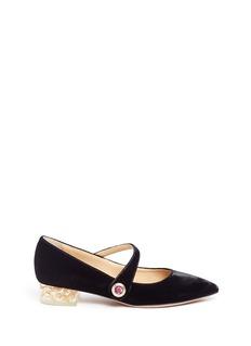 Charlotte Olympia'Uma' foil Perspex heel velvet Mary Jane flats