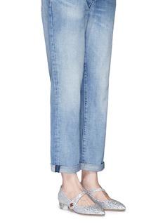 Charlotte Olympia'Uma' Perspex heel glitter Mary Jane flats