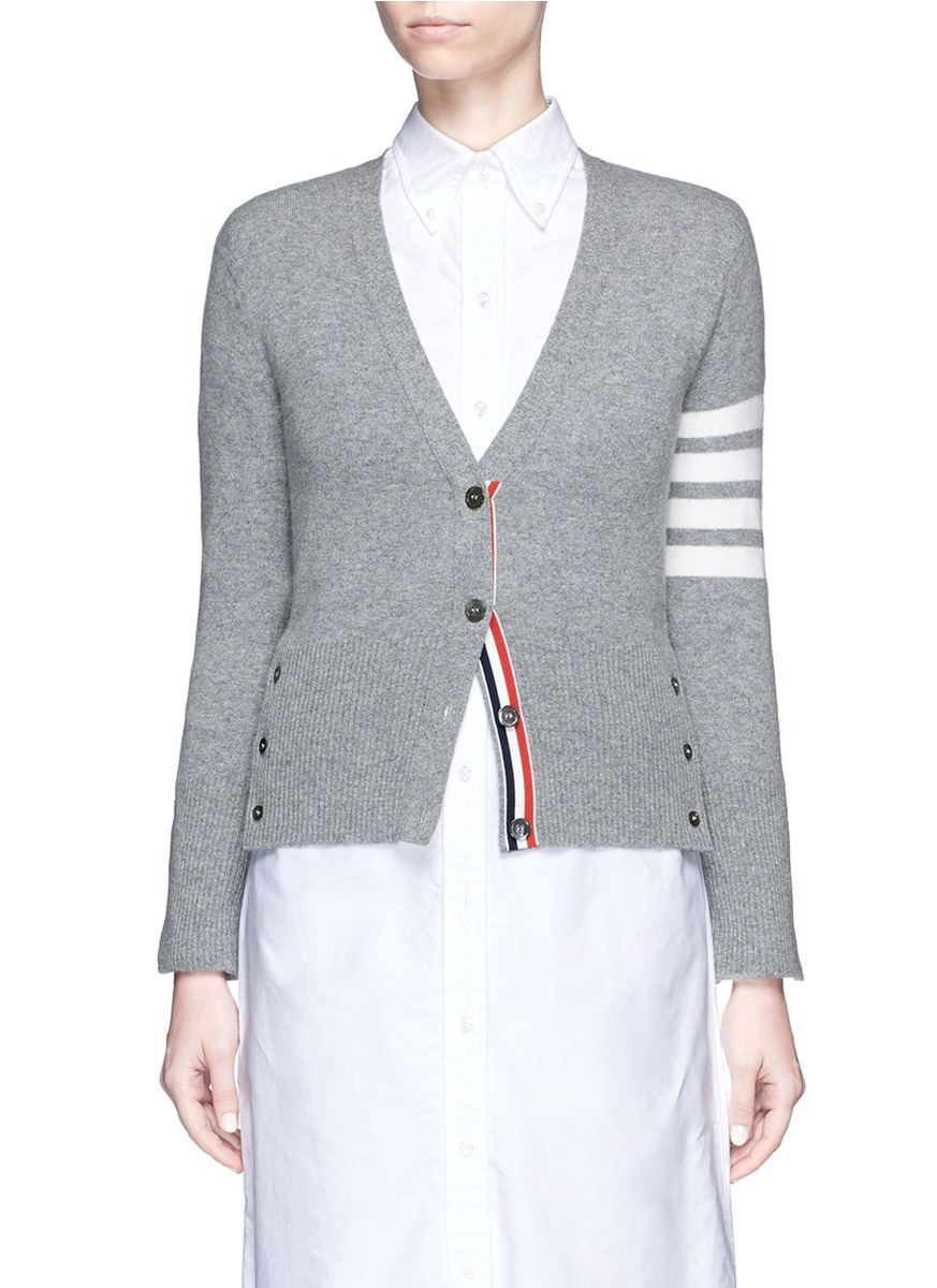 Stripe sleeve cashmere cardigan by Thom Browne