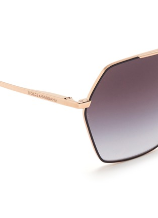 Detail View - Click To Enlarge - Dolce & Gabbana - Metal temple hexagon aviator sunglasses
