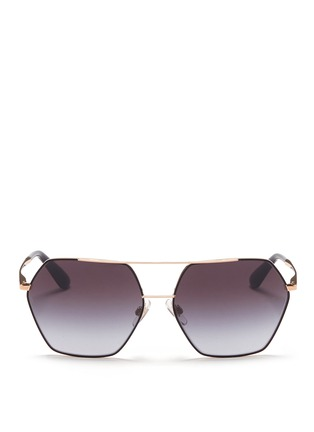 Main View - Click To Enlarge - Dolce & Gabbana - Metal temple hexagon aviator sunglasses