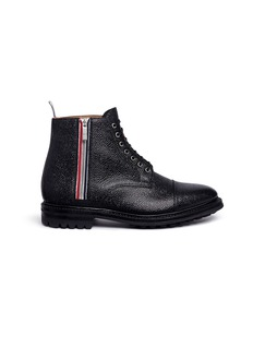Thom Browne Pebble leather commando boots
