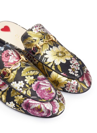 Detail View - Click To Enlarge - Gucci - 'Princetown' horsebit vamp floral jacquard slide loafers