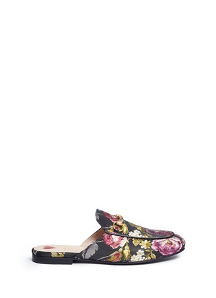 Main View - Click To Enlarge - Gucci - 'Princetown' horsebit vamp floral jacquard slide loafers