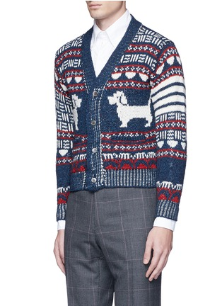 Front View - Click To Enlarge - Thom Browne - 'Hector' wool-Mohair Fair Isle cardigan