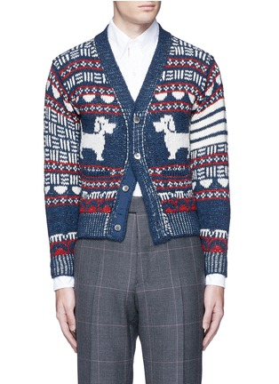 Main View - Click To Enlarge - Thom Browne - 'Hector' wool-Mohair Fair Isle cardigan