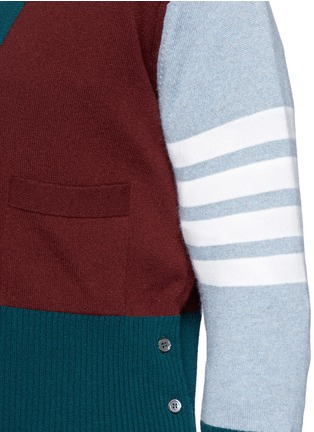 Detail View - Click To Enlarge - Thom Browne - Colourblock stripe cashmere cropped cardigan