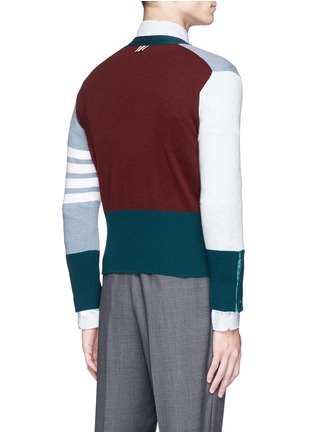 Back View - Click To Enlarge - Thom Browne - Colourblock stripe cashmere cropped cardigan