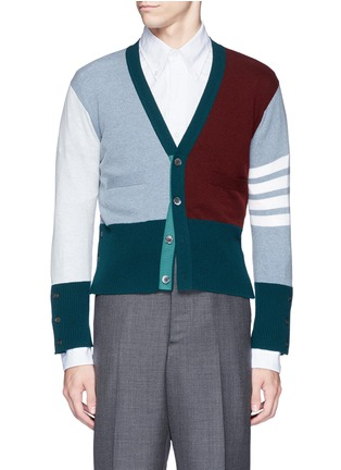 Main View - Click To Enlarge - Thom Browne - Colourblock stripe cashmere cropped cardigan