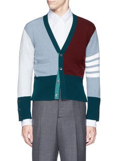 Thom BrowneColourblock stripe cashmere cropped cardigan