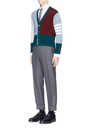 Figure View - Click To Enlarge - Thom Browne - Colourblock stripe cashmere cropped cardigan