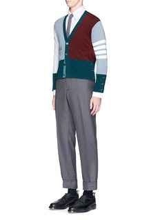 Thom Browne Colourblock stripe cashmere cropped cardigan