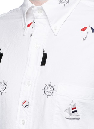 Detail View - Click To Enlarge - Thom Browne - Travel icon embroidery hopsack shirt