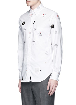Front View - Click To Enlarge - Thom Browne - Travel icon embroidery hopsack shirt