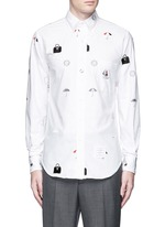 Travel icon embroidery hopsack shirt