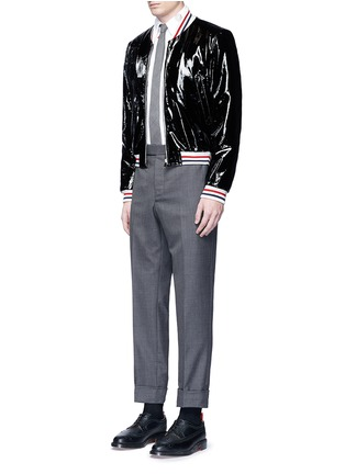 Figure View - Click To Enlarge - Thom Browne - Travel icon embroidery hopsack shirt