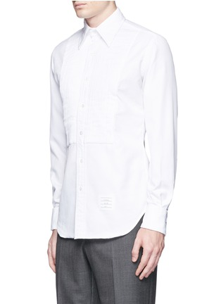 Front View - Click To Enlarge - Thom Browne - Pleat bib cotton piqué tuxedo shirt