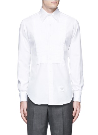 Main View - Click To Enlarge - Thom Browne - Pleat bib cotton piqué tuxedo shirt