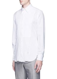 Thom BrownePleat bib distressed cotton shirt