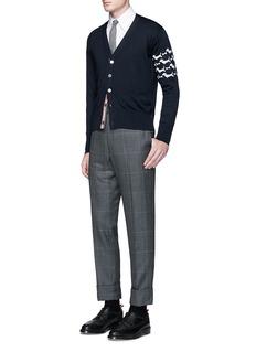 Thom Browne'Hector' sleeve intarsia wool cardigan