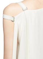 Asymmetric strap one shoulder crepe top