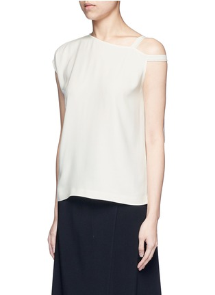 Front View - Click To Enlarge - Helmut Lang - Asymmetric strap one shoulder crepe top