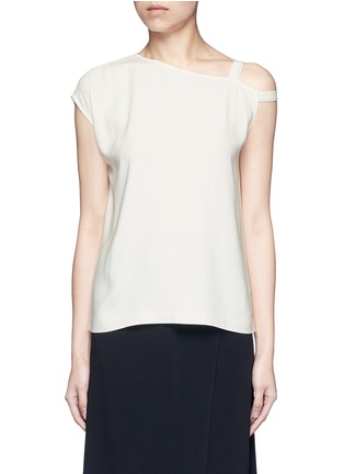 Main View - Click To Enlarge - Helmut Lang - Asymmetric strap one shoulder crepe top