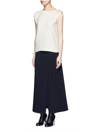 Figure View - Click To Enlarge - Helmut Lang - Asymmetric strap one shoulder crepe top