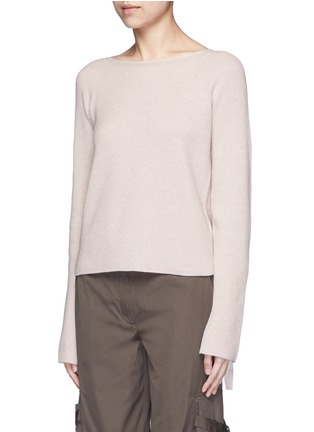 Front View - Click To Enlarge - Helmut Lang - Ribbon sleeve wool-cashmere ribbed sweater