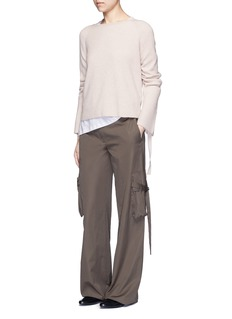Helmut LangRibbon sleeve wool-cashmere ribbed sweater