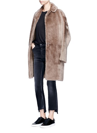 Figure View - Click To Enlarge - Helmut Lang - Reversible lambskin shearling coat