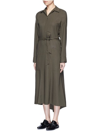 Front View - Click To Enlarge - Helmut Lang - Asymmetric back hem belted shirt dress