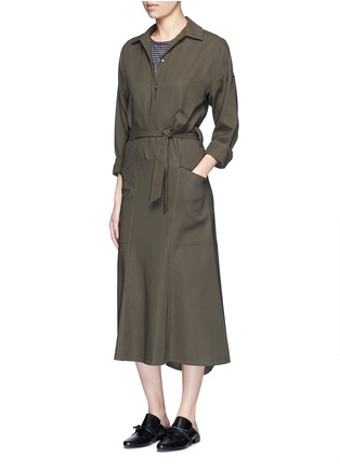 Figure View - Click To Enlarge - Helmut Lang - Asymmetric back hem belted shirt dress