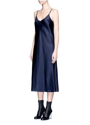 Front View - Click To Enlarge - Helmut Lang - Drape back silk satin slip dress