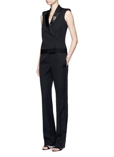 Alexander McQueen Satin stripe virgin wool jumpsuit