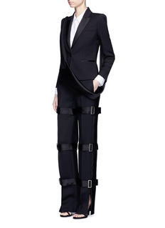 Alexander McQueen Satin buckled strap wool-silk pants