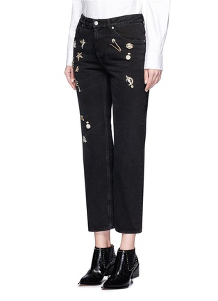 Main View - Click To Enlarge - Alexander McQueen - 'Surreal Obsessions' embellished cropped jeans