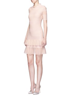 Alexander McQueen Lace panel metallic open knit flare dress