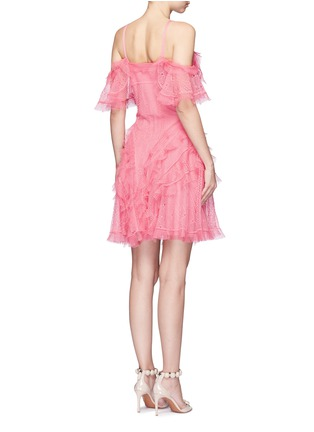 Back View - Click To Enlarge - Alexander McQueen - Ruffled silk open knit cold shoulder dress