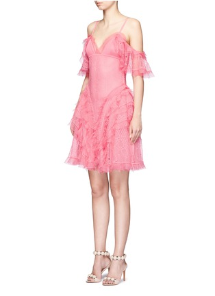 Front View - Click To Enlarge - Alexander McQueen - Ruffled silk open knit cold shoulder dress