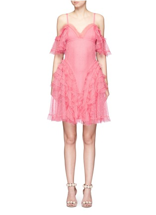 Main View - Click To Enlarge - Alexander McQueen - Ruffled silk open knit cold shoulder dress