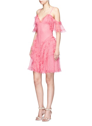 Figure View - Click To Enlarge - Alexander McQueen - Ruffled silk open knit cold shoulder dress