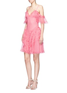 Alexander McQueen Ruffled silk open knit cold shoulder dress