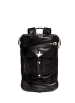 Star print leather duffle backpack