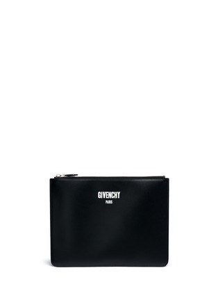 Main View - Click To Enlarge - Givenchy - Logo print leather zip pouch