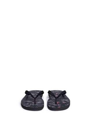 Front View - Click To Enlarge - Givenchy - Monkey print flip flops